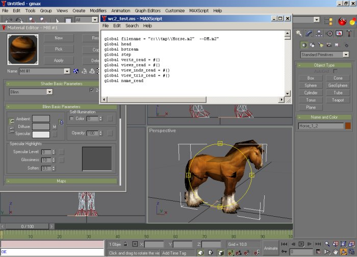 GMax import script in action with a horse loaded